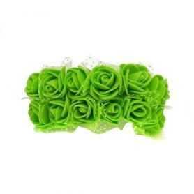 Róże różyczki piankowe z tiulem - 12szt. zielone