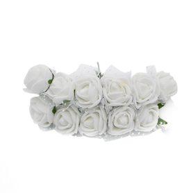Róże różyczki piankowe z tiulem - 12szt.białe