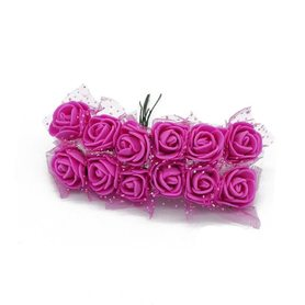 Róże różyczki piankowe z tiulem - 12szt.różowe