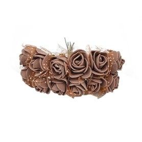 Róże różyczki piankowe z tiulem - 12szt.brązowe