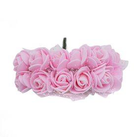 Róże różyczki piankowe z tiulem - 12szt. jasnoróżowe