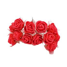Róże różyczki piankowe z tiulem - 12szt. czerwone