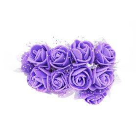Róże różyczki piankowe z tiulem - 12szt. fioletowe