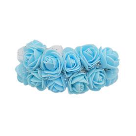 Róże różyczki piankowe z tiulem - 12szt. niebieskie