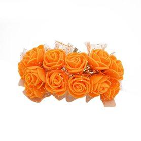 Róże różyczki piankowe z tiulem - 12szt. pomarańczowe