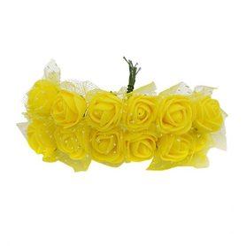 Róże różyczki piankowe z tiulem - 12szt. żółte