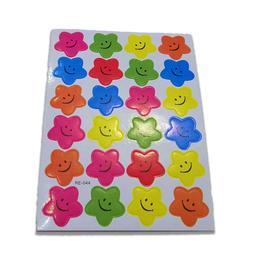 Naklejki ozdobne gwiazdki z uśmiechem mix kolorów
