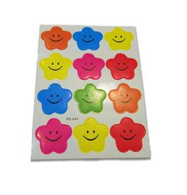 Naklejki ozdobne gwiazdki z uśmiechem mix kolorów duze