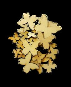 Drewniane motylki 25szt. mix wielkości, kreatywne
