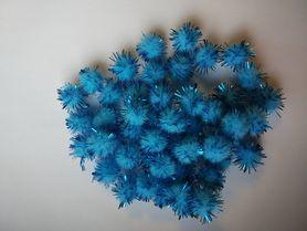 Pompony włochate błękitne 50szt. kreatywne