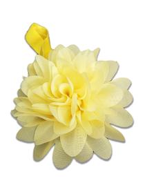 Piękna opaska z kwiatem do włosów, chrzest, żółta