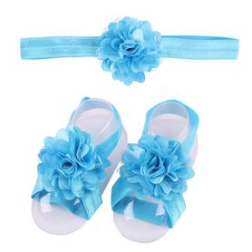 Zestaw do chrztu, opaska na główkę i 2x ozdoba bucików, błękitny