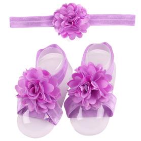 Zestaw do chrztu, opaska na główkę i 2x ozdoba bucików, fioletowy