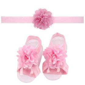 Zestaw do chrztu, opaska na główkę i 2x ozdoba bucików, jasnoróżowy