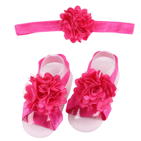 Zestaw do chrztu, opaska na główkę i 2x ozdoba bucików, różowy