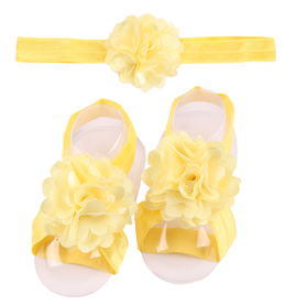 Zestaw do chrztu, opaska na główkę i 2x ozdoba bucików, żółty