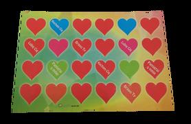 Naklejki czerwone serduszka z napisem, serca 24szt, walentynki