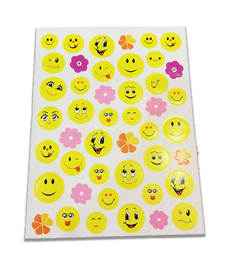 Naklejki emotikonki mix, 45 sztuk! buźki i kwiatuszki