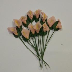 Kalia piankowa z drucikiem, 12szt - blady róż