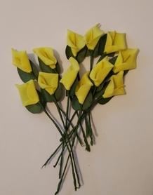 Kalia piankowa z drucikiem, 12szt - żółta