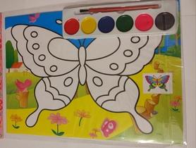 Kreatywny zestaw do malowania, farbki i obrazek.