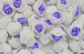 Piękne róże piankowe biało - fioletowe - 10szt. kreatywne