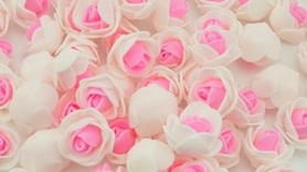 Piękne róże piankowe biało - różowe - 10szt. kreatywne