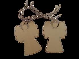 Duże drewniane aniołki ze sznureczkami - 2 szt., choinkowe