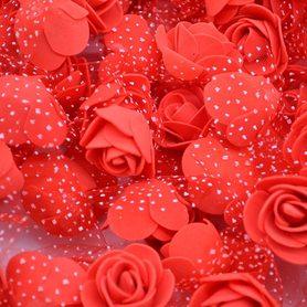 Róże piankowe z tiulem czerwone - 10szt. kreatywne