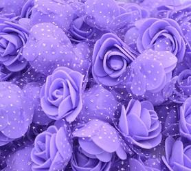Róże piankowe z tiulem fioletowe - 10szt. kreatywne