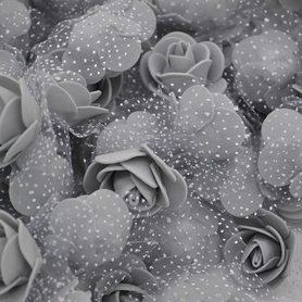 Róże piankowe z tiulem szare - 10szt. kreatywne