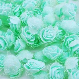 Róże piankowe z tiulem miętowe - 10szt. kreatywne