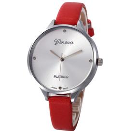 Piękny damski zegarek na rękę, czerwony pasek