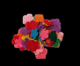 Kolorowe kwiatuszki filcowe 15mm - 50szt, kreatywne