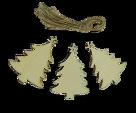 Choinki drewniane 3szt. ozdoba choinkowa