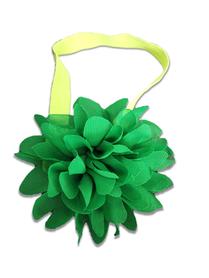 Piękna opaska z kwiatem do włosów, chrzest, zielona