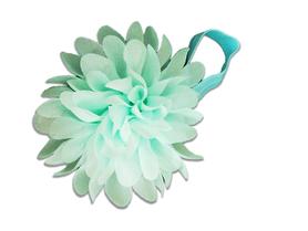 Piękna opaska z kwiatem do włosów, chrzest, miętowa