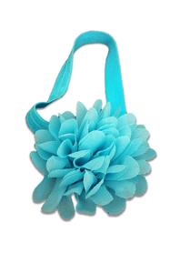 Piękna opaska z kwiatem do włosów, chrzest, błękitna