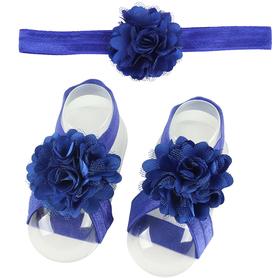 Zestaw do chrztu, opaska na główkę i 2x ozdoba bucików, niebieski