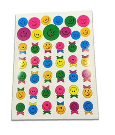 Naklejki emotikonki z wstążeczkami mix kolorów, 42 sztuk! buźki