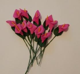 Kalia piankowa z drucikiem, 12szt - różowa