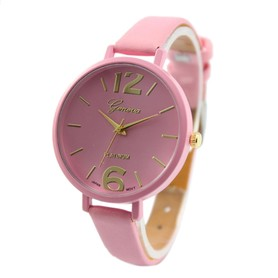 Piękny damski zegarek na rękę, różowy pasek