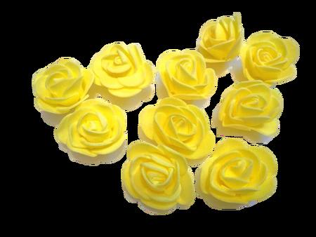 Róże piankowe zółte - 10szt. kreatywne (1)