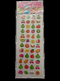 Naklejki 3D arkusz z owocami, mix kolorów i wielkości 3