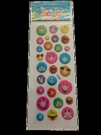 Naklejki 3D emotikony, buźki, minki, mix kolorów i wielkości 2