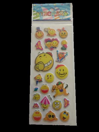 Naklejki 3D emotikony, buźki, minki, mix kolorów i wielkości 3 (1)