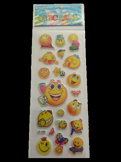 Naklejki 3D emotikony, buźki, minki, mix kolorów i wielkości 9 (1)