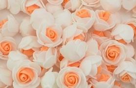 Piękne róże piankowe biało - pomarańczowe - 10szt. kreatywne