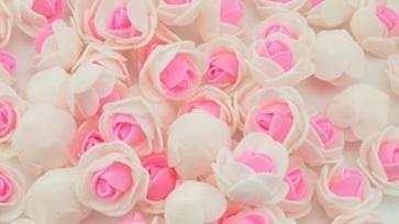 Piękne róże piankowe biało - różowe - 10szt. kreatywne (1)