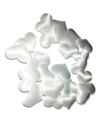 Białe satynowe serduszka poduszeczki - 25szt.